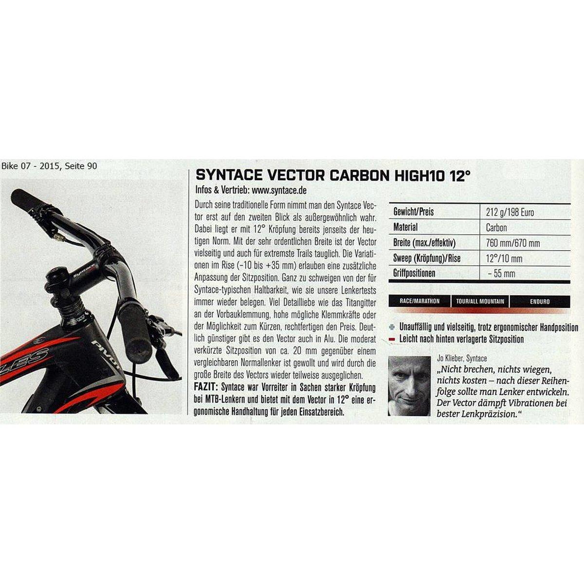 Lenker syntace vector carbon high 10 ca 226 gramm for Mountainbike lenker hohe verstellen