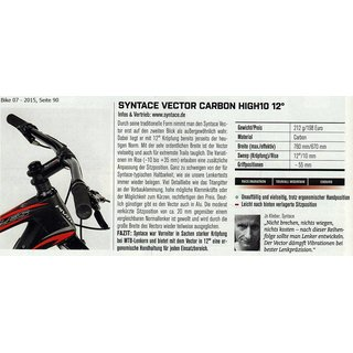 Lenker Syntace Vector Carbon High 10, ca. 226 Gramm